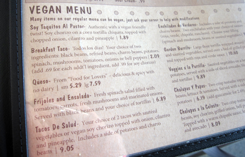 gueros vegan menu